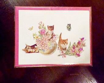 Victorian kitties ~ The Three lil' Kittens Greeting Card