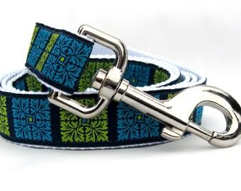 Savannah Squares Kiwi & Turquoise Dog Leash