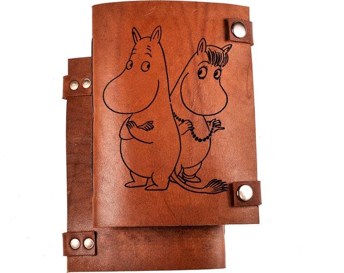 Moomintroll notebook - moomin sketchbook - Tove Jansson journal - Moominland - Moomins - Moominpappa - Moominmamma - leather journal - gift