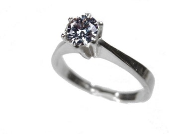 Solitaire ring Silver 925 cubic zirconia silver ring approx. 4.5 m stone silver jewellery