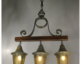 A4401 Hammered Metal Arts and Crafts, Tudor, Story Book  Lantern Chandelier