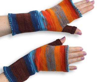 Fingerless Gloves - Arm Warmers - knitted Armwarmers - bright Fingerless Gloves - orange blue Arm Warmers - knit Accessories