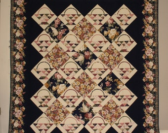 """Traditional 'Delfina's Basket' Floral Homemade Quilt. 76"""" x 89"""". Dark Navy, Cream, & Rose hues. Floral design. Custom Quilted. SHIPS FREE!"""