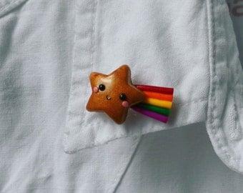 Star brooch, star lapel pin, star badges, polymer clay brooch, mini brooch, kawaii brooch, shooting star pin, clay brooch, cute accessory