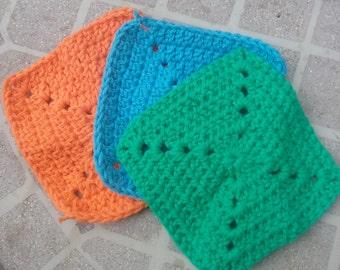 set of 3 small crochet washcloths, cleaning cloths, bath cloths