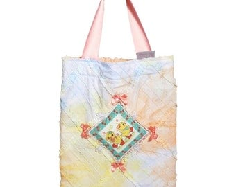 Kawaii Totebag with rabbit, cat or ducklings.