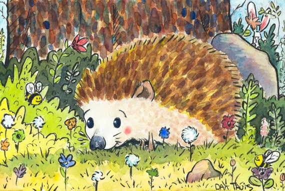 """Hedgehog Happiness"" from Dan Tavis Illustration"
