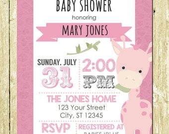 Pink Giraffe Safari Printed Baby Shower Invitations