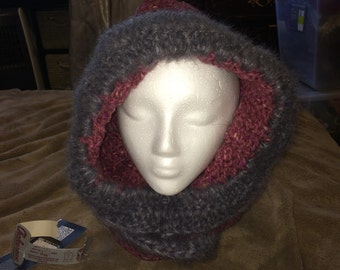 Made to order fur trimmed hooded cowl