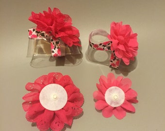 Interchangeable, Flowers, Baby, Barefoot Sandals, Newborn, 0-3 Months, Summer, Spring