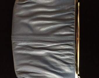 Blue leather Vintage Clutch