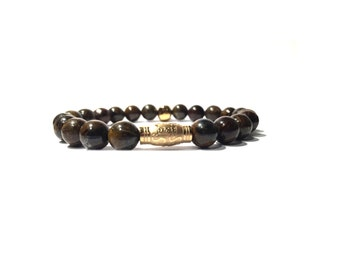 8mm brown with gold skull