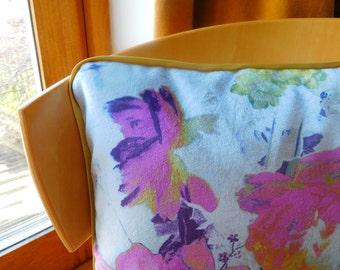 "Rectangular velvet floral cushion in shades of pink, purple and gold. 17"" x 13"" rectangular velvet floral cushion. Velvet floral pillow."