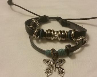 Leather Butterfly Charm Bracelet