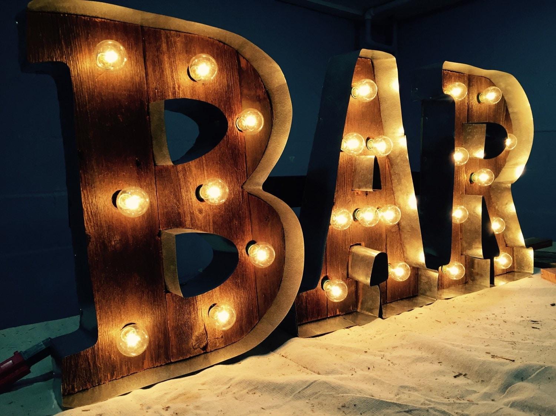 Handmade Light up BAR sign. Made from repurposed barwood.