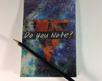 """Original notepad/sketchpad. Analog collage """"Do you note?"""". Hand cut collage notepad cover"""