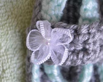 Crochet mint green flip flop, Newborn strap flip flop, Flower sandals, Summer flower sandals