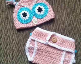 Crochet Handmade Owl Hat and Diaper Cover