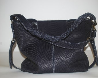 Blue handbag genuine cow leather imitation snake leather