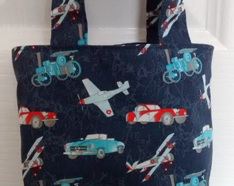 Child's Tote Bag, Child's Cars, Planes and Trains Bag, Small Bag, Boys Bag, Cute Cotten Fabric Bag
