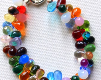 Beautiful Multicoloured Handmade Czech Glass Teardrop Bracelet