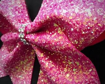 Watermelon Pink Glitter Bow - FREE UK P&P!