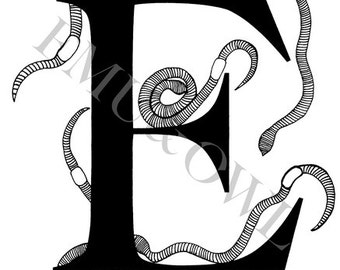 E for Earthworms - Alphabet Print - Black & White