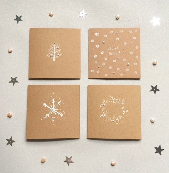 SALE   Handmade Christmas card multipack. 4 pack of illustrated Christmas cards. Holly wreath, Christmas tree, snow flake, snow multi pack