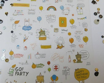 Happy birthday stickers. Two sheets. Cute rabbits and bears.