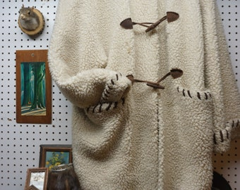 Oversized Wool Hoodie w/ Leather closures