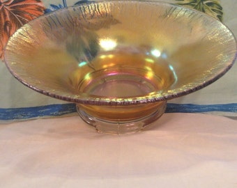 Vintage 1920's Jeannette Glass Co. Footed Iridescent Bowl