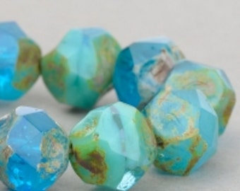 Czech Glass Beads - Central Cut Beads - Picasso Beads - Turquoise Aqua Mix Opaque Transparent with Picasso Beads - 9mm Beads - 15 beads