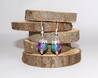 Green and violet earrings Bright earrings Dangle earrings Everyday jewelry Cute earrings Green earrings Violet earrings Lilac earrings