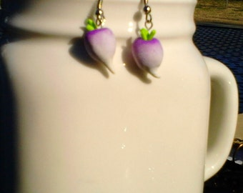 Realistic turnip dangle earrings