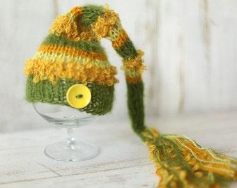 Newborn Elf Hat, Knitted Mohair Baby Boy Girl Hat,Stripes, Munchkin hat, Knit baby hat, Photo prop, Photography,Beanie