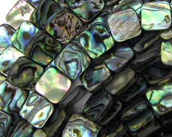 "12mm abalone shell flat square beads 16"" strand 12407"