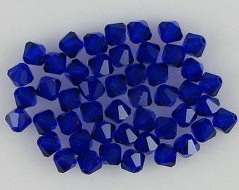48 4mm Swarovski crystal bicone 5301 Cobalt beads