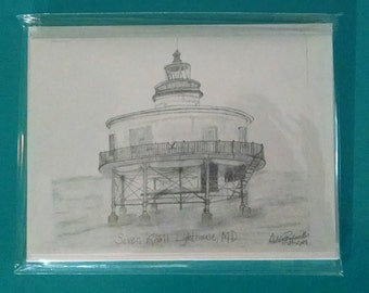 Seven Knoll Lighthouse, MD Note card Set of 5