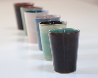 Stoneware Ceramic Set of 6 Cups. Ceramic Cup pink, blue, green, brown. Tea Service, Coffee Cup. Handmade Stoneware Pottery