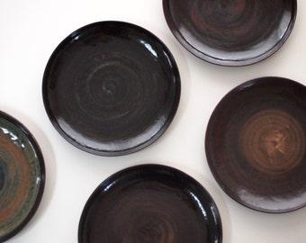 Stoneware Dishes, Stoneware Dinnerware, Ceramic Dish Set, Stoneware Pottery Handmade. Ceramic Plates Black Brown Red. Color Stoneware Plate