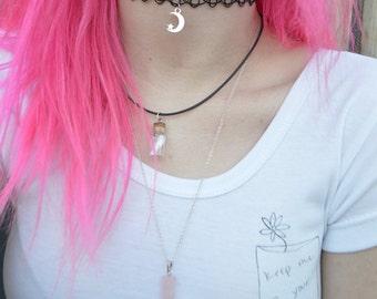 Rose Quartz / Bottle Message Necklace Trio :)