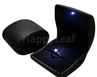 Lily Treacy PU Leather Ring, Earring Jewelry Box with LED Light for Proposal, Engagement, Wedding, Gift