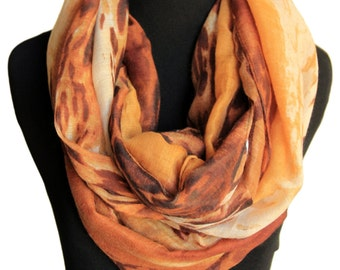 Infinity brown cotton scarf,Leopard print abstract scarf,Cheetah scarf,Animal print scarf,Cheetah lover gift,Cheetah scarf