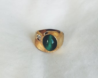 Green and Gold Statement Ring