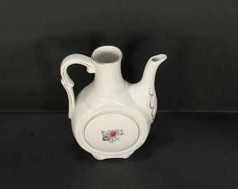 Vintage Porcelain Jug with Handle  /  Flowers /  Old Jug  / Porcelain Ewer /  Water jug  /  White porcelain /  Milk Jug  / Home decor