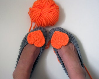 Chunky Heart Slippers, Knitted Slippers, Ballet Flats, Neon Orange Crochet Hearts, Wedding Flats, Colourful Shoes, Bridesmaid Gift