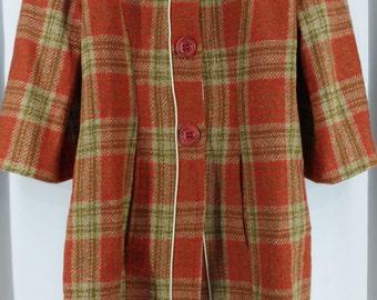 Coat Plaid rust; mi long sleeve