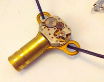 Upcycled clock key #2,  watch movement, Steampunk pendant, steampunk necklace, steampunk, handmade steampunk key, steampunk pendant necklace