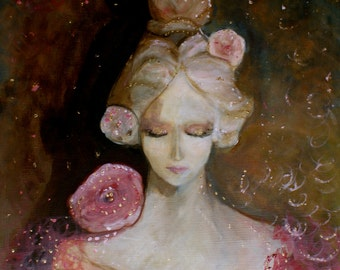 It's a New Year- original oil on canvas. Hope for a new year! Painting, mixed media