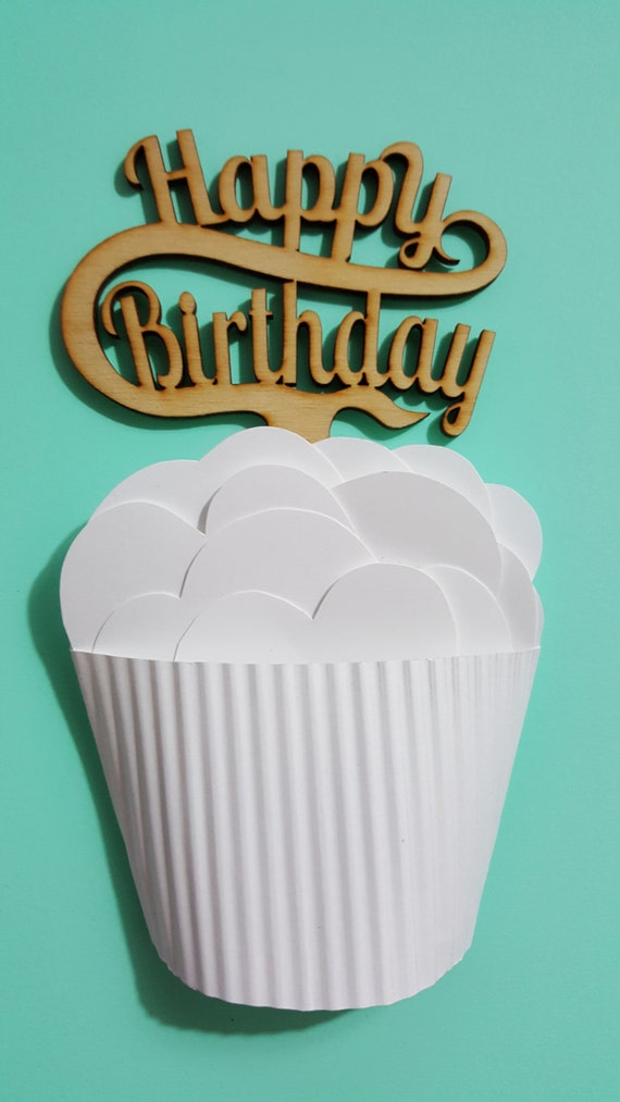 Happy Birthday Cupcake Topper ~ Wood cupcake topper happy birthday by rockpaperlaser on etsy